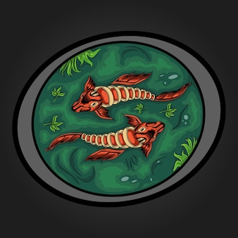 Illustration of two koi fish in green water