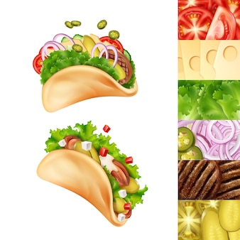 Illustration of two mexican tacos with different ingredients