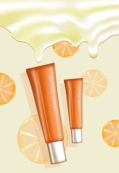 Illustration of two orange cream tubes with place for text on oranges pattern and cream background Premium Vector