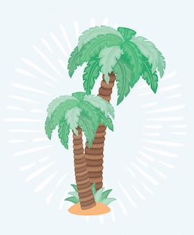 Illustration of two palm trees