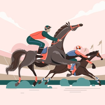 Illustration of two racing horses in action competing with each other