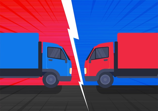 The illustration of a two truck collision with high velocity on the road.