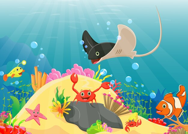 Illustration of underwater world