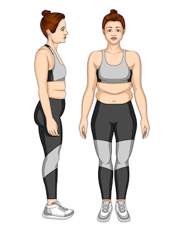 Illustration of unhappy young woman in sportswear