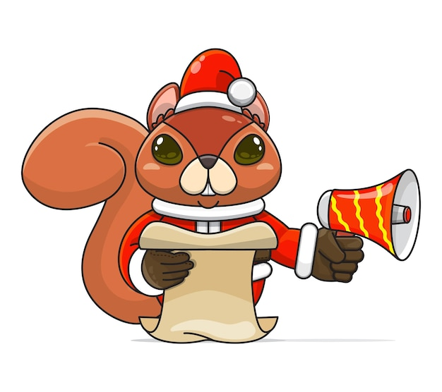 Illustration of a unique humanoid squirrel animal wearing a costume holding megaphone read script