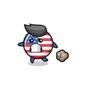 Illustration of the united states flag badge running in fear , cute style design for t shirt, sticker, logo element