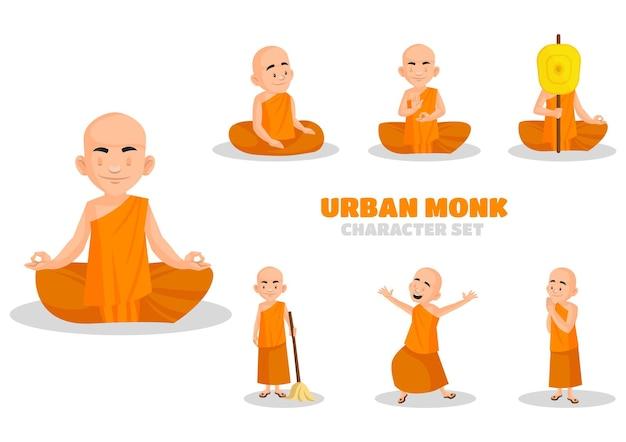 Illustration of urban monk character set