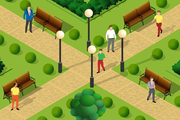 Illustration of an urban park