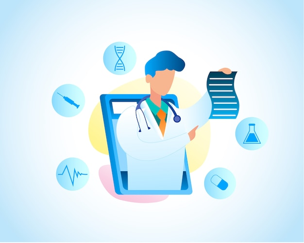 Illustration using tablet consultation with doctor. vector image man white medical gown with monitor screen tablet holds prescription for treating disease. online consultation, medical pediatrician