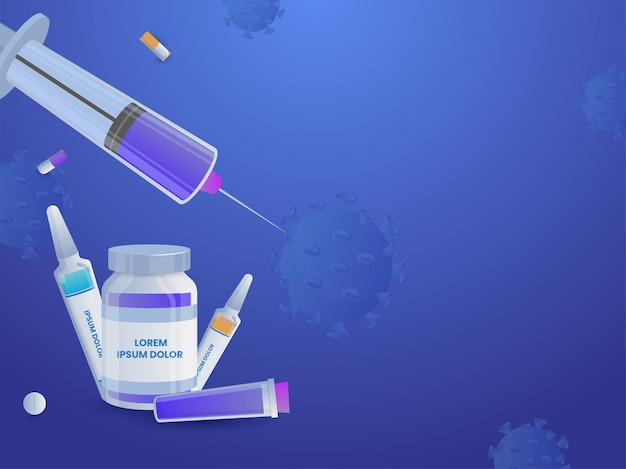 Illustration of vaccine bottles with syringe, tablets on blue coronavirus effect background.