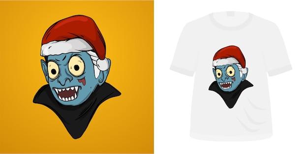 Illustration vampire santa hat for tshirt design