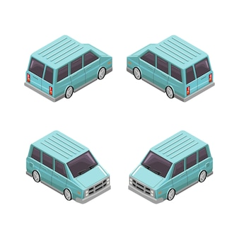 Illustration of van car isometric vector design