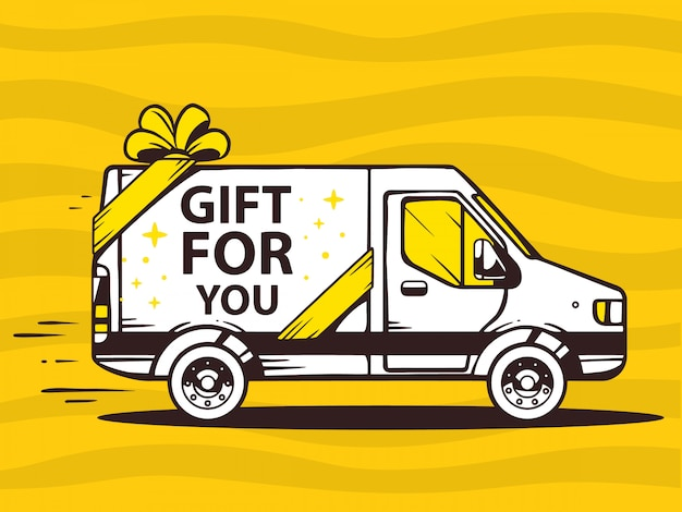 Illustration of van free and fast delivering gift to customer on yellow background.