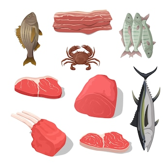 A illustration for a variety of meat set isolated on white