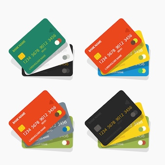 Illustration of various color credit cards set with simple shadows on white