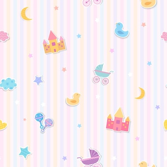 Illustration vector of baby toys design to seamless pattern