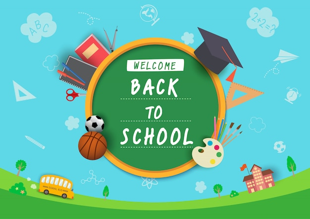 Illustration vector of back to school design with stationery and knowledge symbol on school background.