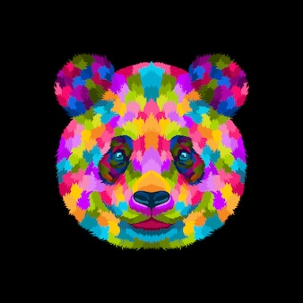 Illustration vector of colorful panda pop art portrait style
