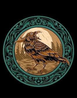 Вектор иллюстрации ворона птица с орнаментом старинные гравюры.