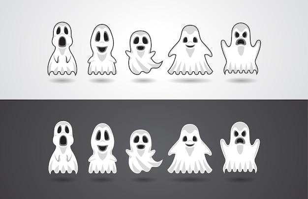 Illustration vector design for halloween party with action and emotion of ghost characters blanket