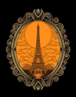 イラストベクトルエッフェル塔の建物のヴィンテージ彫刻飾り。