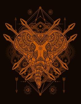 Иллюстрация векторной головы слона в стиле мандалы с орнаментом старинные гравюры