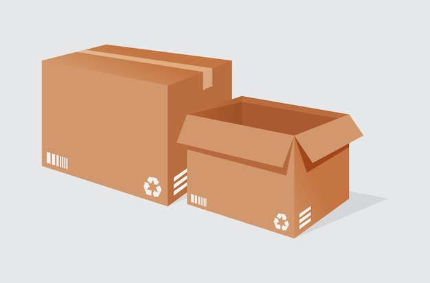 Illustration vector graphic of 2 delivery box on white background perfect for icon business