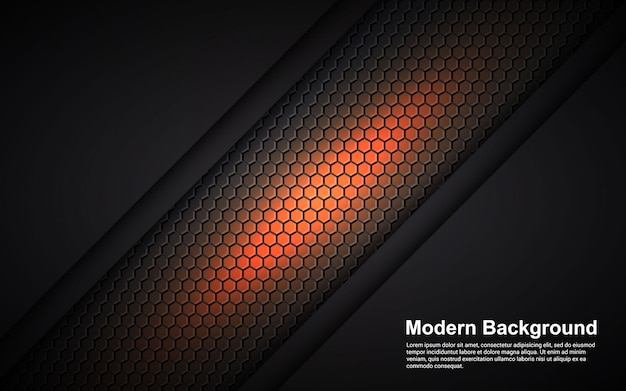 Illustration vector graphic of abstract background orange dimension on black modern
