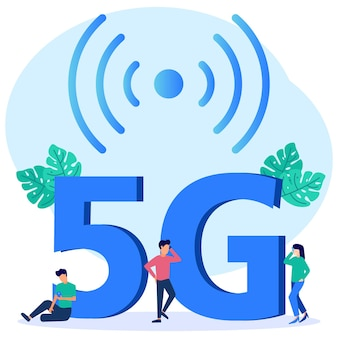 Illustration vector graphic cartoon character of 5g network