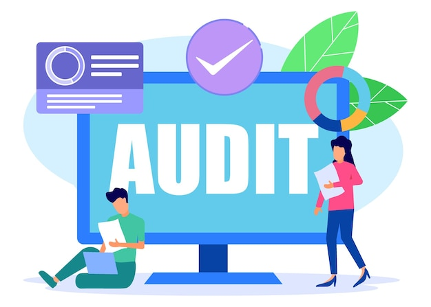 Illustration vector graphic cartoon character of audit