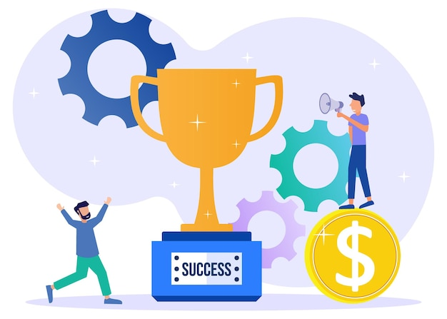Illustration vector graphic cartoon character of business achievement