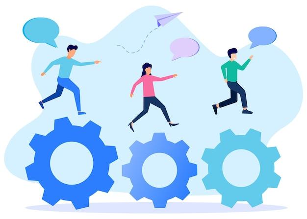 Illustration vector graphic cartoon character of business activities