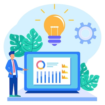 Illustration vector graphic cartoon character of business analysis