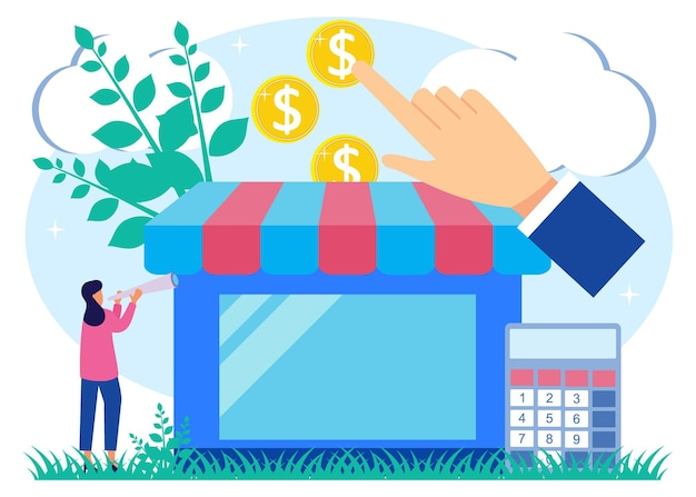 Illustration vector graphic cartoon character of business assistance