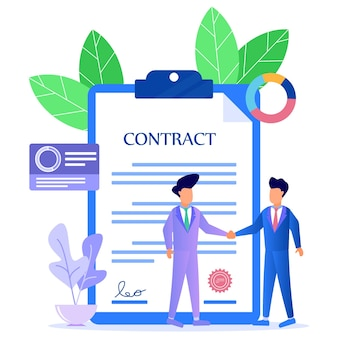 Illustration vector graphic cartoon character of business contract