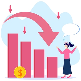 Illustration vector graphic cartoon character of business crisis