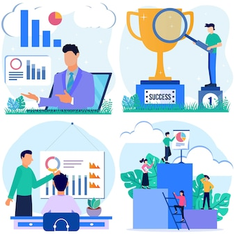 Illustration vector graphic cartoon character of business growth