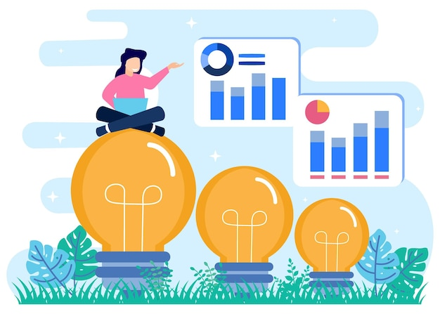 Illustration vector graphic cartoon character of business idea