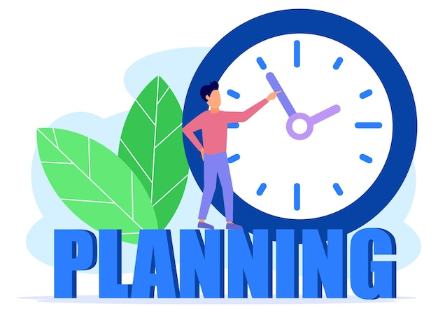 Illustration vector graphic cartoon character of business planning