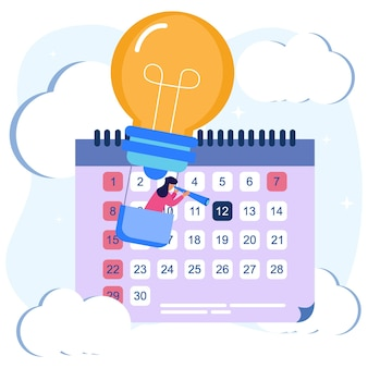 Illustration vector graphic cartoon character of business schedule