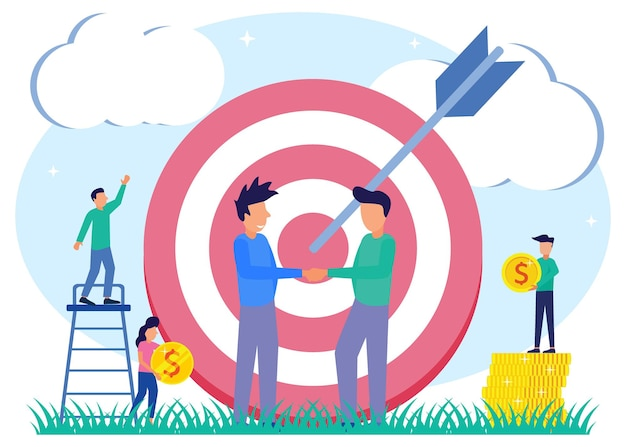 Illustration vector graphic cartoon character of business target