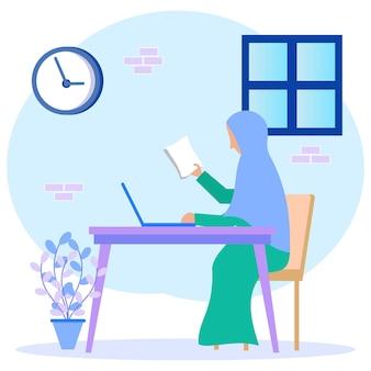 Illustration vector graphic cartoon character of businesswoman