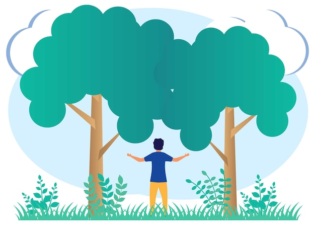 Illustration vector graphic cartoon character of care for physical health and protect nature.