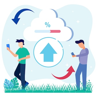 Illustration vector graphic cartoon character of cloud storage