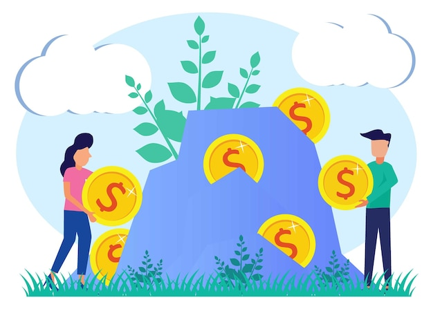 Illustration vector graphic cartoon character of the concept of capital, investment