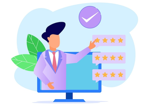 Illustration vector graphic cartoon character of consumer rating