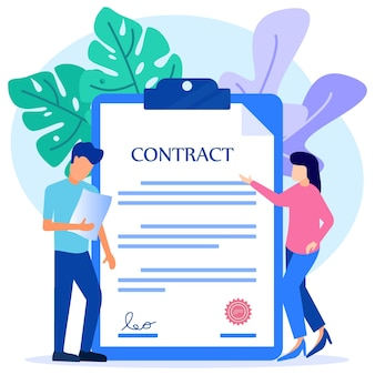 Illustration vector graphic cartoon character of contract