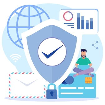 Illustration vector graphic cartoon character of data protection