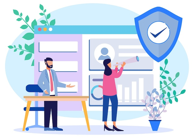Illustration vector graphic cartoon character of data security