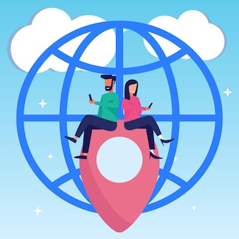 Illustration vector graphic cartoon character of digital map